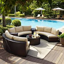 Outdoor Wicker Chairs With Cushions Crosley Catalina 6 Piece Outdoor Wicker Curved Conversation Set