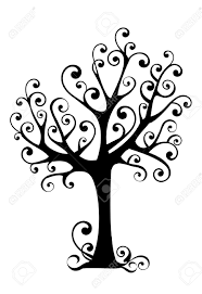 ornamental tree with swirly branches royalty free cliparts