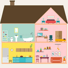 rooms in the house house inside with rooms vector stock vector illustration of