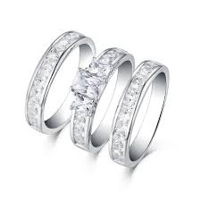 ring sets emerald cut s925 white sapphire 3 3 ring sets
