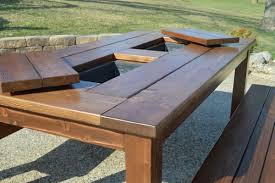 Make A Picnic Table Cover by Make Your Own Patio Table With Built In Ice Boxes Homes And Hues