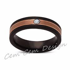 6mm diamond 6mm unique diamond brushed gold black brushed tungsten ring