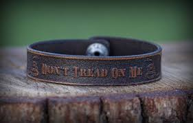 Tan Republic Bend Oregon Genuine Leather Bracelet Don U0027t Tread On Me