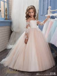 kids wedding dresses 2017 pentelei with illusion sleeves and
