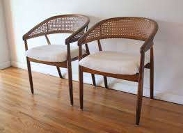 mid century modern pair of cane rattan back chairs picked vintage
