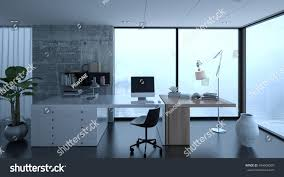 Home Office Interiors 3d Rendering Small Home Office Interior Stock Illustration