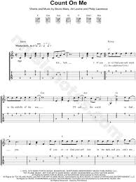 Bruno Mars Count On Me With Lyrics Bruno Mars Count On Me Guitar Tab In C Major Print