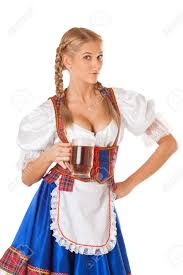 young oktoberfest woman wearing a traditional bavarian dress