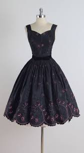 vintage 1950s black pink flocked cocktail dress summer songs