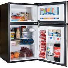 table top freezer glass door haier 3 2 cu ft 2 door refrigerator black walmart com