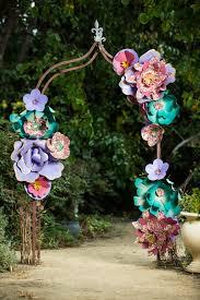 giant paper flower garden arch using japanese chiyogami yuzen