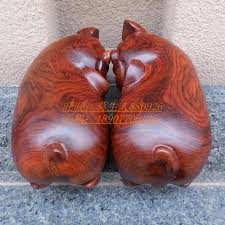 mahogany wooden pig ornaments wholesale supplies feng shui