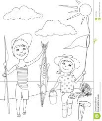 fish outline coloring page summer activities for kids coloring page stock vector image