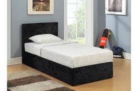 Black Single Bed Frame Lyon Single Ottoman Crushed Velvet Bed Frame Beds Fads