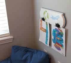 diy kids art board in the garage