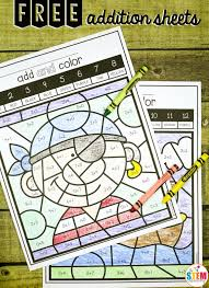 free color by code addition sheets fun math center and addition