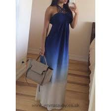 blue halter sleeveless ombre design maxi dress for women