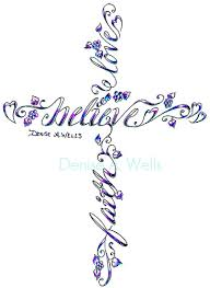charming cross and butterfly design skecth by a