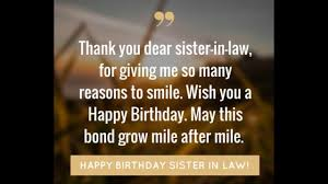 happy birthday sister in law youtube