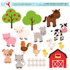 farmyard party etsy farm animals clipart set barn farmyard sheep cow horse chicken personal use small commercial instant download
