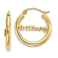hoop earrings with name diamond cut personalized name hoop earrings 14k gold