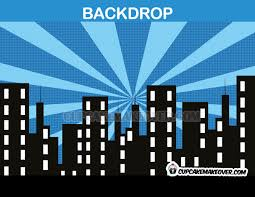cityscape backdrop party backdrop blue background instant