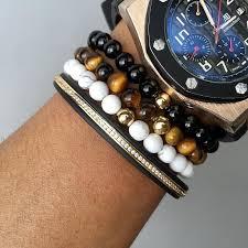 man bracelet stone images 3pcs natural stone titanium beads bracelet mix road to man jpg