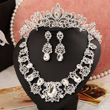 crystal choker necklace set images Wedding jewelry set crystal choker necklace earring set rhinestone jpg