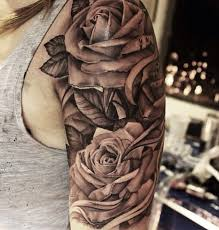 realistic eye and grey rose flower tattoo on half sleeve for men
