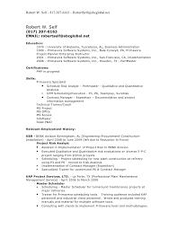 Project Resume Robert W Self Resume 2009