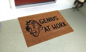 genius at work custom handpainted funny einstein welcome doormat