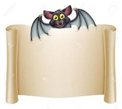 halloween bat banner with a bat cartoon character above the banner