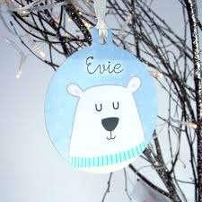 Cheap Personalised Christmas Decorations Polar Bear Personalised Christmas Decoration By Hoobynoo