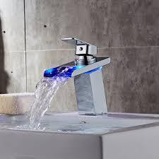 led waterfall bathroom basin single lever mixer tap amazon co uk