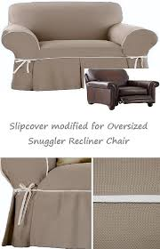 chair and a half slipcovers reclining snuggler chair slipcover contrast taupe adapted for