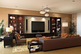interior modern built in wall shelves with television grey sofa