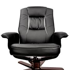 furniture office pu leather wood arm lounge chair recliner