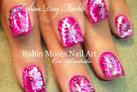 robin moses nail art pink diva no water drag marble marbling