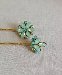 green opal swarovski mint green opal rhinestone hair pins hair pin sea foam