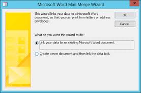 use mail merge to send access data to word access