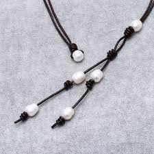 necklace leather cords images Aobei pearl handmade necklace with leather cord pearl pearl jpg