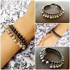 bracelet cord beads images Beautiful silver beads and little bells bracelet waxed cotton cord jpg