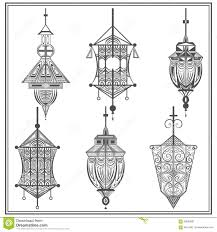 set of ethnic ornamental lights in black and white stock vector