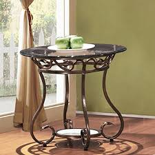 Bronze Accent Table Adeco Glass Top Bronze Metal Base End Side Table Small