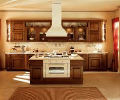 chocolate brown wooden island with cooktop smooth beige island top