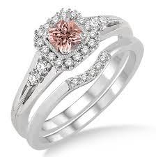 morganite bridal set 1 5ct morganite diamond halo engagement ring bridal set 10k