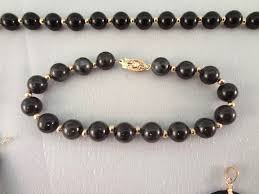 jade gold necklace images Lot detail 14k gold black jade jewelry suite 1 necklace 4 jpeg