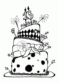 very big birthday cake with number 16 coloring page for kids