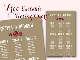 free editable marsala wedding seating chart template printable