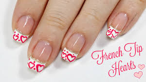 easy french tip with hearts valentine u0027s day nail art design youtube